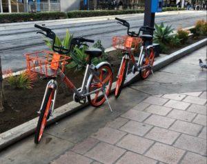 Dockless bikes on a San Diego street.